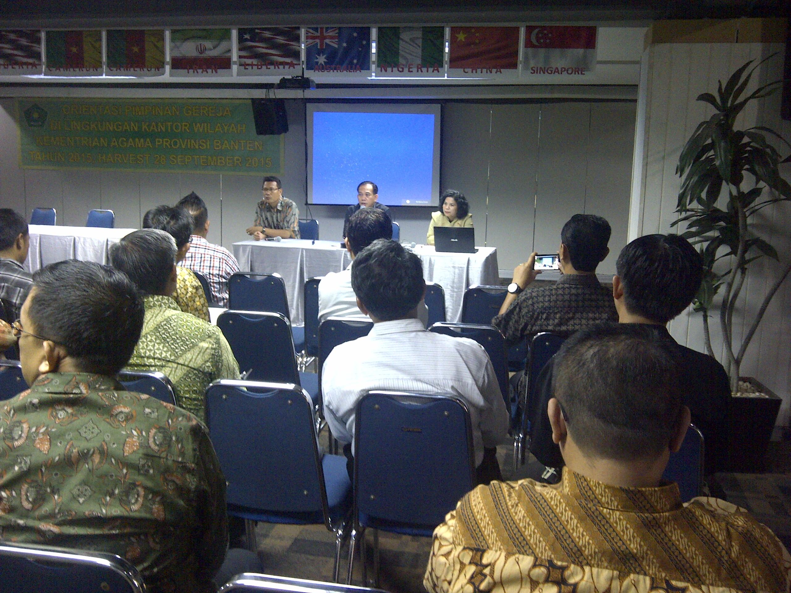 Orientasi Pim.Gereja .Kanwil Kemenag .Prov.Banten .di Gedung World Harvest - Tangerang
